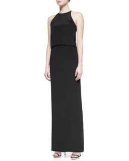 Womens Heavy Silk Long Halter Dress, Black   Tibi   Black (12)
