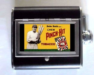 Babe Ruth says Chew Pinch Hit Tobacco Baseball Retro Whiskey and Beverage Flask, ID Holder, Cigarette Case Holds 5oz Great for the Sports Stadium Kitchen & Dining