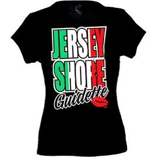 Jersey Shore Guidette Tee   Nj Funny Ladies Fitted Babydoll T shirt   Black: Clothing