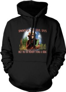 Smoke Up The Bear Says: Only You Can Prevent Stems & Seeds Hooded Sweatshirt, Funny Pot Smoking Bear Design Hoodie: Clothing