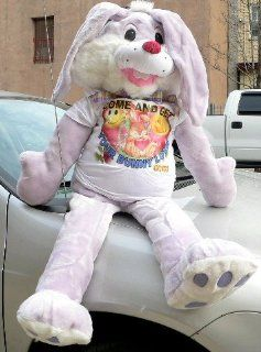 "HUGE STUFFED BUNNY 50"" SOFT PLUSH BIG FOOT RABBIT   JUMBO GIANT BIG PLUSH BUNNY WEARING a T SHIRT THAT SAYS ""COME AND GET YOUR BUNNY LOVE""   ADORABLE * COLOR LAVENDER Toys & Games"