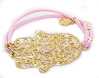 Beautiful Blee Inara 18k Gold Plated Filigrina Hamsa Charm Bracelet on PINK Elastic Band with All Seeing Eye Bead Comes Gift Boxed: Jewelry