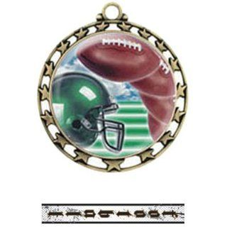 Hasty Awards 2.5 Custom Football Medals M 4401 GOLD MEDAL / INTENSE Custom Football RIBBON 2.5 ACTION INSERT MEDAL : Sporting Goods : Sports & Outdoors