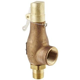 "Kingston 710D56S1L 150 Safety Valve, D Orifice, Brass Body & Trim, 3/4"" Inlet x 1"" Outlet, Silicone Disc, Open Lever, ASME Sec. VIII Steam, 15 250 psi Pressure Range, 150 psi Set Pressure Industrial Relief Valves Industrial & Scientific"