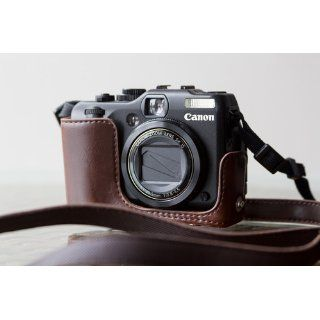 Cosmos Brown Leather Case Cover Bag for Canon Powershot G12 G 12 Camera + Cosmos Cable Tie : Camera & Photo