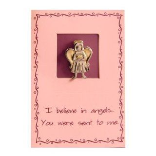 LDS Sincere Thoughts Greeting Card & Two Tone Pin   Angel Two Tone Pin   I Believe in AngelsYou Were Sent to Me   LDS Greeting Cards, Friendship : Office Products