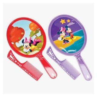 "DISNEY MICKEY AND MINNIE MOUSE HAND MIRROR AND COMB SET ASSORTED DESIGNS AND COLORS SENT AT RANDOM SIZE 6"": Toys & Games"