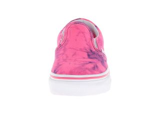 Vans Kids Classic Slip On (Little Kid/Big Kid) (Distressed Neon) Hot Pink/True White