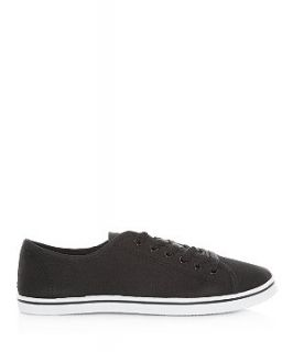 Wide Fit Black Lace Up Plimsolls