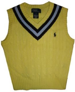 Polo by Ralph Lauren Infant Boys Sweater Vest Available in Several Color and Sizes (12 Months, Yellow w/ Navy & Blue Stripes w/ Navy Pony): Clothing