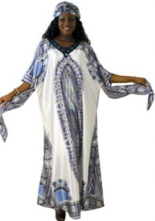 Shimmering Traditional Dashiki Style Jeweled Polyester Caftan Kaftan   Available in Several Colors (Blue) Clothing