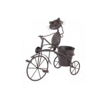 Gartendeko Tier mit Fahrrad Metall Topf bepflanzbar Frosch Hund Katze Maus Blume Pflanzen NEU, Modell / Charakter:Frosch: Garten