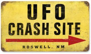 UFO Crash Site Vintage Metal Sign   14W x 8H in.