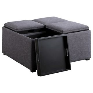 Simpli Home Avalon Coffee Table Storage Ottoman with 4 Serving Trays