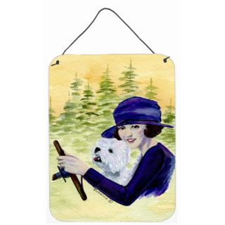 Woman driving with her Westie Aluminum Hanging Painting Print Plaque