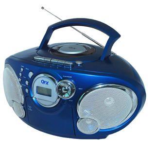 Quantum FX QFX AM/FM Stereo Cassette Radio CD//USB/SD/AUX IN Blue