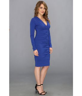 Nicole Miller Heather Jersey V Neck L S Tucked Dress Egyptian Blue