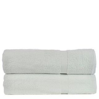 Bare Cotton Luxury Hotel and Spa Turkish Cotton Dobby Border Bath Sheet (Set of 2); White