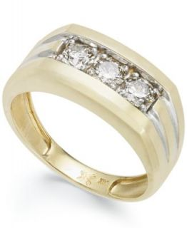 Mens 14k Gold Ring, Diamond Three Stone (1 ct. t.w.)   Rings