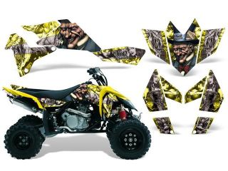 2006 2009|Suzuki|LTR|450::AMRRACING ATV Graphics Decal Kit:Mad Hatter Yellow Silver