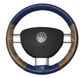 2015 Toyota Sienna Leather Steering Wheel Covers   Wheelskins Blue/Oak Perf 15 1/4 X 4 1/2   Wheelskins EuroPerf Perforated Leather Steering Wheel Covers