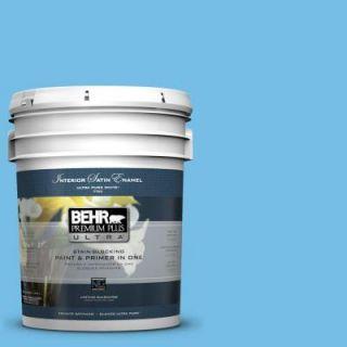 BEHR Premium Plus Ultra 5 gal. #550B 4 Costa Rica Blue Satin Enamel Interior Paint 775405