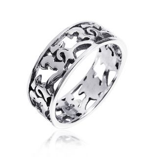 Peaceful Harmony Aum or Ohm Symbol .925 Silver Band Ring (Thailand