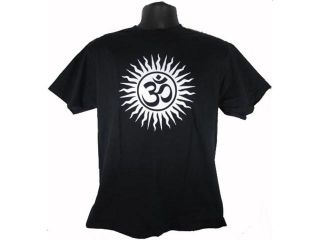 Om Aum Yoga Hindu Sanskrit God Symbol Adult Black T Shirt Tee