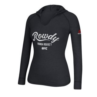 Reebok Ronda Rousey UFC 193 Womens Heather Black Rowdy Established Hoodie