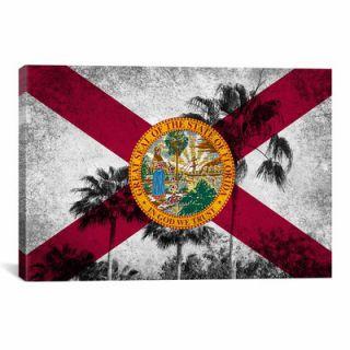 iCanvas Florida Flag, Grudge Palm Trees Graphic Art on Canvas
