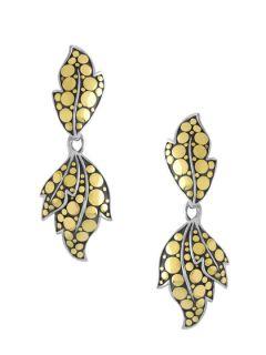 Ayu Two Tone Leaf Double Drop Earrings by John Hardy