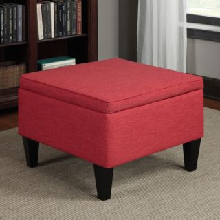 Portfolio Engle Sunset Red Linen Table Storage Ottoman   14765815