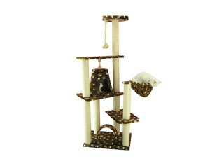 "Armarkat 66"" Wooden Step Pet Cat Tower Tree Condo Scratcher Furniture Play Kitten House Saddlebrown"