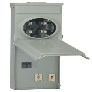 GE 100 Amp Ringless Metered Temporary Power Box with GFCI Top Feed R011C010