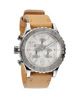 Nixon The 42 20 Chrono Leather Strap Watch, 48mm
