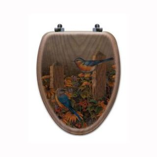 Linda's Bluebirds Elongated Closed Front Wood Toilet Seat in Oak Brown TS O LBB E AB