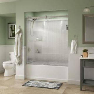 Delta Simplicity 60 in. x 58 3/4 in. Semi Framed Contemporary Style Sliding Bathtub Door in Nickel with Droplet Glass 810610