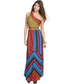 Ali & Kris Juniors Dress, Sleeveless One Shoulder Striped Maxi