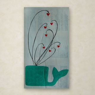Trademark Art Whale Spouting Hearts by Nicole Dietz Painting Print