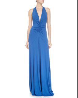 Nicole Miller Halter Neck Sleeveless Gown, Meridian Blue