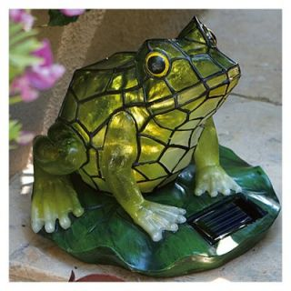Solar Lawn Ornament, Stained Glass Frog, 7.5 x 7.2 x 7.2 In.: Model# AG55614 01F
