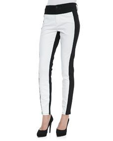 Not Your Daughters Jeans Aurora Two Tone Leggings, Optic White/Black