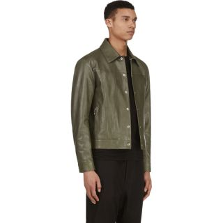 Yang Li Khaki Leather Jacket