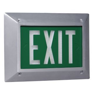 ISOLITE Cast Aluminum Self Luminous Exit Sign, Green Background Color, 20 yr. Life Expectancy   Self Luminous Exit Signs   2TUG6 2040 70 20 G