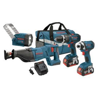 BOSCH Cordless Combination Kit, Voltage 18.0 Li Ion, Number of Tools 4   Cordless Combination Kits   19TT09 CLPK432 181