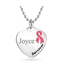 Bling Jewelry Bling Jewelry Breast Cancer Poem Pink Ribbon Heart Id Dog Tag Necklace Steel (361017801)