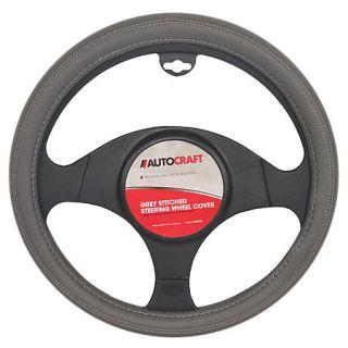 AutoCraft Steering Wheel Cover   Grey Stitch AC38455G