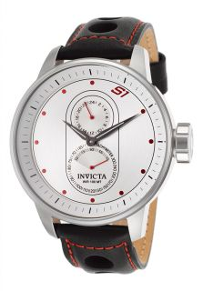 Men's S1 Rally Black Leather Red Contrast Stitch Silver Tone Dial