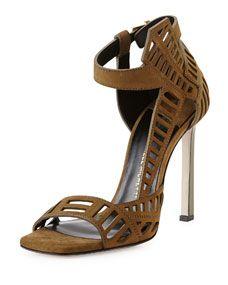 Daniele Michetti Mahima Suede Cutout Sandal, Khaki
