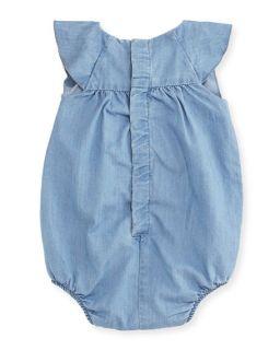 Chloe Bubble Chambray Bodysuit, Blue, Size 3 18 Months